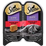 SHEBA PERFECT PORTIONS 2.6 oz. Pate, Tender Beef Entrée Wet Cat Food Trays, (24 Twin Packs)