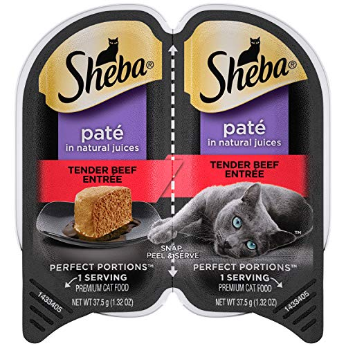 SHEBA PERFECT PORTIONS Soft Wet Cat Food Paté in Natural Juices Tender Beef Entrée, (24) 2.6 oz. Easy Peel Twin-Pack Trays
