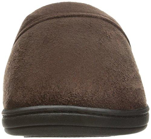 isotoner Men's Devin Gel Infused Memory Foam Slip on Slipper Microsuede Dark Chocolate X-Large