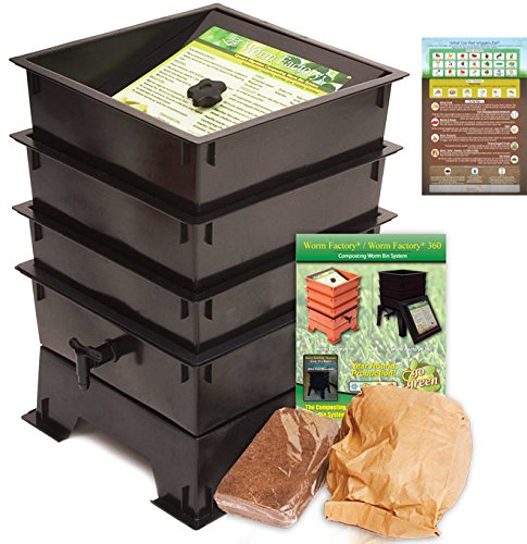 Review Of Worm Factory 3-Tray Worm Composting Bin + Bonus What Can Red Wigglers Eat? Infographic Ref...