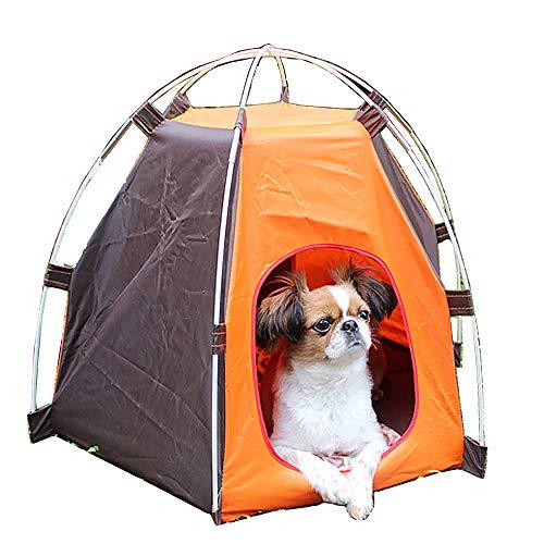WOOLIY Tienda de Mascotas Plegable portátil Plegable, Nido de casa de Perro de Gato al Aire Libre Impermeable y Transpirable para Interiores, para Gatito de Cachorro de Perro pequeño (60x55 cm),Café