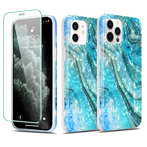 Manleno Compatible with iPhone 12 Case Marble iPhone 12 Pro Case with Screen Protector Glitter Cute Protective Phone Case Soft Cover for Women Girls Slim Full Body Protection (Pearlecent Aqua)