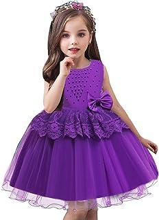 فستان AGQT للفتيات الصغار من الفتيات الصغيرات مزين بعقدة شريطية بدون أكمام مطرز لحفلات عيد الأم 6 أشهر - 5 سنوات