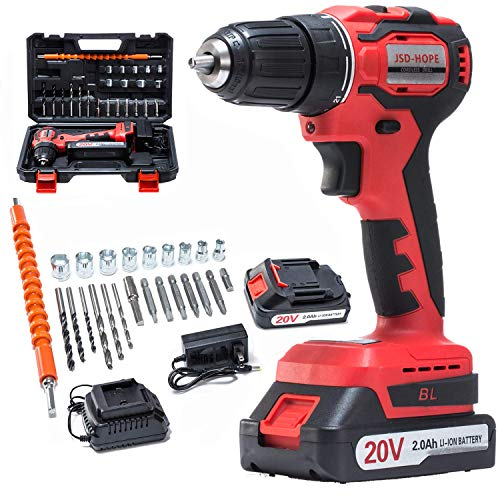 20V Cordless Drill Driver28cs Accessories Electric Power Drill Set 320 inlbs Torque Variable Speed 3/8 inches Keyless Chuck Builtin LED 2000mAh Battery and Fast Charger