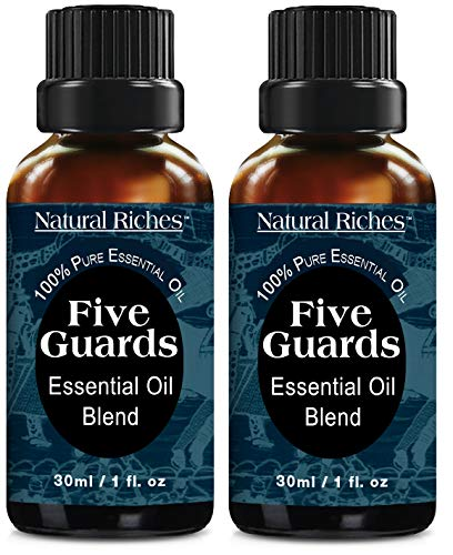 Natural Riches Five Guards Immunity Synergy Blend Health Shield Aromatherapy Essential Oils - Pure Therapeutic Grade with Clove Cinnamon Lemon Rosemary Eucalyptus (2 Pack) 30ml