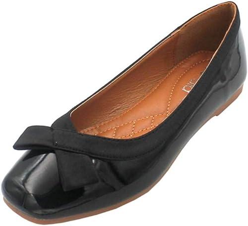 AJUNR Femmes Loisirs Nouveau Style Baitao Version Coréenne Bow à Fond Plat Travail Chaussures à Semelle Souple 1 Cm