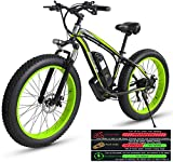 RDJM Electric Bike Electric Mountain Bike for Adults, Electric Bike Three Working Modes, 26' Fat Tire MTB 21 Speed Gear Commute/Offroad Electric Bicycle for Men Women (Color : Green)