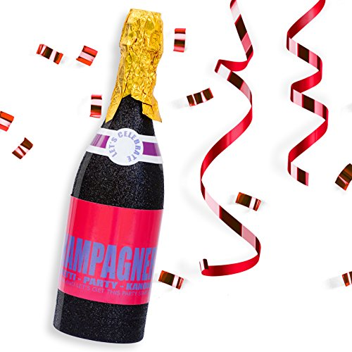 papapanda Konfettishooter Party Popper Konfetti Kanone Luftschlangen Streamers mit Champagner Flasche Cannon Champagne Bottle