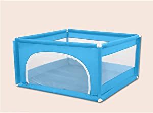 Baby Play Yard Playpens Prevent Collision With Door Safety Fence Breathable Mesh Removable Play Area For Beach Backyard Park Room Kids Babies Products  Color Blue  Size 120x120x62cm