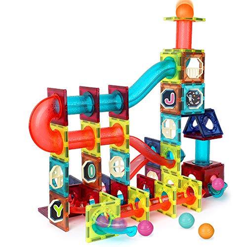 LBLA 110Pcs Kugelbahn Murmelbahn für Kinder,Marble Run Set,Magnetische Bausteine Bunte Rollbahn Kugelbahn Spielzeug,Lernspielzeug und Konstruktionspielzeug für Kinder
