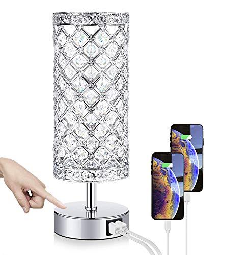 Lámpara de Mesa de Cristal, Lámpara Mesilla de Noche, Doble USB Recargable,...