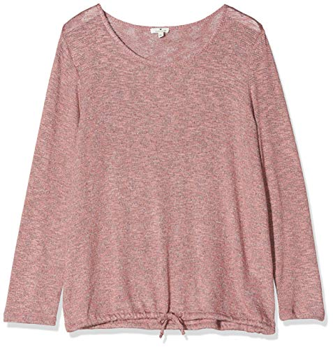 TOM TAILOR Damen T-Shirts/Tops Langarmshirt in Melange-Optik Vintage Rose Melange,XL