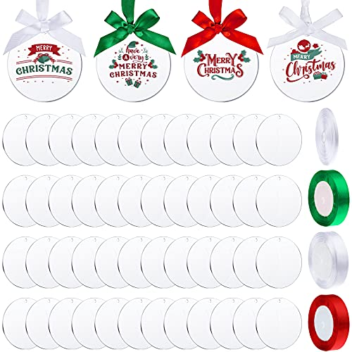 50 Pieces Clear Acrylic Ornaments DIY Round Clear Acrylic Christmas Ornaments Blank Acrylic Circle Disc with Hole Acrylic Transparent Tags, 3 Rolls Ribbons and White Webbing Roll