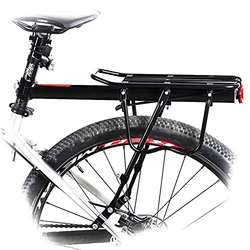 Bicycle Rear Rack , Upgraded Bike Rack Aluminum Alloy Can bear 50KG Luggage Rear Carrier Trunk for Bicycles MTB Bike Rear Shelf Cycling Bicycle Rack for Cycling Camping Sport ( Color : Black )