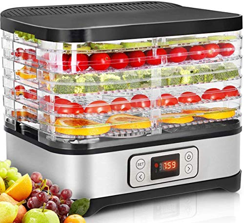 Lowest Price! Food Dehydrator Machine for Jerky/Meat/Fruits with Timer, Five Trays, LCD Display Scre...