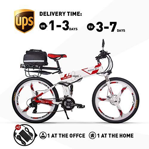 RICH BIT Elektrofahrräder 36V 12.8A Li-Batterie Faltrad MTB Mountainbike E Bike 26 Zoll Shimano 21 Speed Fahrrad intelligente Elektrofahrrad RT860 (Rot)