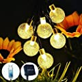 Solar String Lights Outdoor Waterproof, 30.2FT 60 LED Crystal Ball Fairy Lights Solar Powered& USB Plug-in Powered with 8 Lighting Modes for Indoor Outdoor Party Home Backyard Wedding (Warm White)