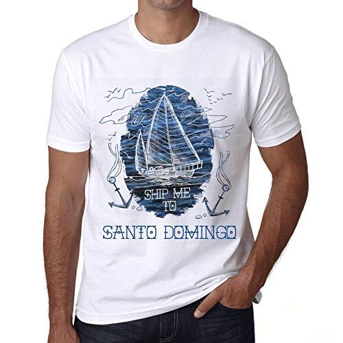 Hombre Camiseta Vintage T-Shirt Gráfico Ship Me To Santo Domingo Blanco