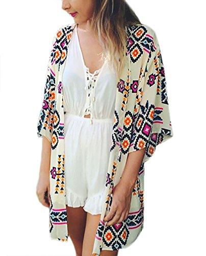 HX fashion Damen Cardigan Weiß Vintage Bunt Geometrie Printed Ethno Chiffon Kurzarm Fledermausärmel Lang Sommer Strand Elegant Kimono Strandtunika Bikini Cover Up