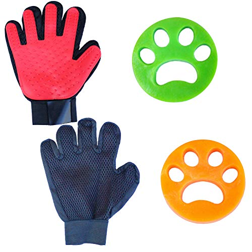 SlonX Pet Grooming Gloves and Pet Hair Remover Kit - 1 Pair of Cat and Dog Shedding Gloves for Gentle Fur Brushing, Detangling, and Massaging - Plus 2 Pet Hair Removers for Laundry (RED)