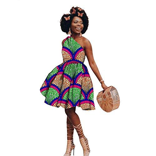 Vestidos de impresión africana para las mujeres de moda sexy casual más tamaño mini vestido Outwear Ankara ropa de cera algodón - beige - Medium