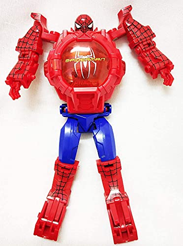 AKANAR Spiderman Action Figure Toy Robot Deformation Convertible Digital Wrist Watch for Kids (Red Color)