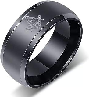 LMXXV Freemasonry Masonic Symbol 8MM Stainless Steel Beveled Edge Wedding Band Ring for Men Boy,Multi Color Option