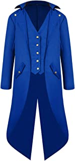 PANBOB Men's Tuxedo Long Solid Color Steampunk Medieval Retro Men's Long Sleeve Uniform Banquet Dress Front Short and Back...