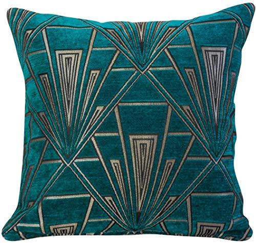 RMI Art Deco cushion teal and silver vintage design