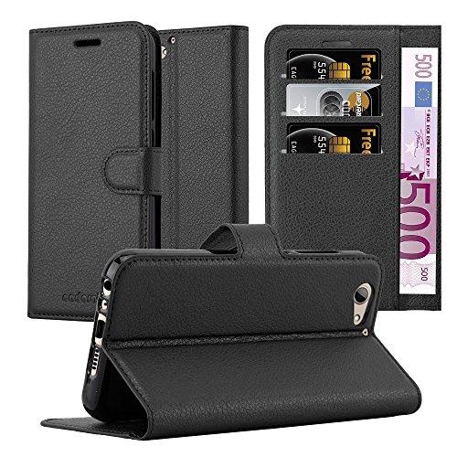 Cadorabo Hülle für HTC ONE A9S - Hülle in Phantom SCHWARZ – Handyhülle mit Kartenfach & Standfunktion - Case Cover Schutzhülle Etui Tasche Book Klapp Style