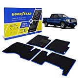 Goodyear Custom Fit Car Floor Liners for Ford F-150 2009-2014 SuperCab, Black/Blue 4 Pc. Set, All-Weather Diamond Shape Liner Traps Dirt, Liquid, Precision Interior Coverage - GY004301