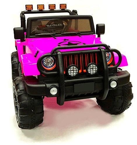 babyfun Macchina Elettrica per Bambini 12V 2 Posti Jeep Off Road Rosa