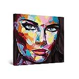 Startonight Cuadro Moderno en Lienzo - Eva Mujer, Grandes Ojos Labios Rojos - Pintura Abstracta Para Salon Decoración 80 x 80 cm
