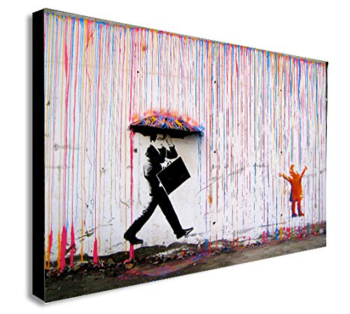 Banksy Farbige Regen–Leinwand Wand Art Gerahmter Leinwanddruck verschiedene Größen, A0 47x33 inches