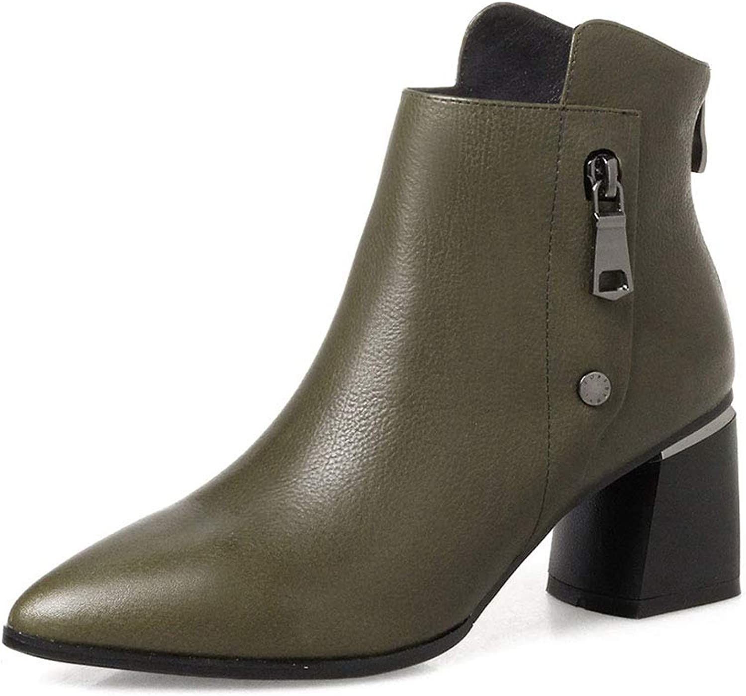 Women's Ankle Boots, Leather Pointed High Heel Boots Rough High Heels Fashion Martin Boots Wedding Party & Evening Formal shoes (color   Green, Size   34)