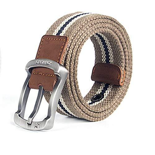 BAIAA Cinturón De Lona, Cinturón Casual Para Hombre, Metal De Seguridad Hebilla De Tejido Elástico, Robusto Y Resistente Al Desgaste, 105/115/125 * 3.8cm (C,125cm)