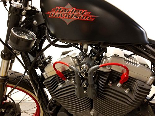 JBSporty Coil and Ignition Relocation Bracket w/Red Taylor Wires Harley Davidson Sportster, Nightster, 72, 48 Iron Roadster 883 1200
