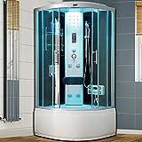 Shower Quadrant Enclosure Corner Hydro Massage Jets Complete Shower Cabin Enclosure (Black No Steam)