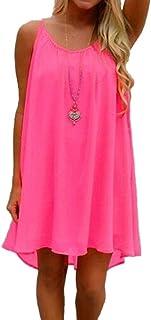 Preferhouse Women s Beach Shirt Dress Summer Casual Wear Hollow Out  spaghetti straps 86410ce77