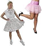 Disfraz de polka para mujer, falda de lunares blanca corta con bufanda a juego y falda de color rosa claro (rojo con puntos negros y rosa claro)