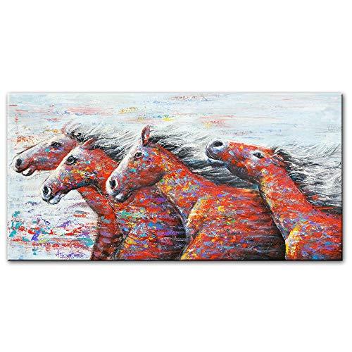 zszy Abstract lopende paarden muurkunst canvasdruk moderne pop-art dieren muurschilderijen afdrukken op canvas wooncultuur foto's -60x120cmx1 stuk geen lijst