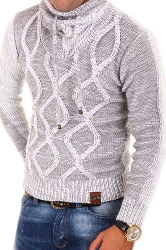 Tazzio Strickpullover mit Hochkragen Pullover 3992 [Weiß, XL]