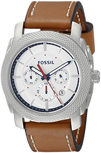 Fossil Reloj de acero inoxidable para hombre FS5063 con correa de cuero marrón