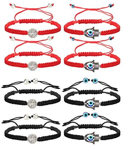 Finrezio 8 PCS Saint Benedict & Evil Eye Hamsa Hand Braided Cord Bracelets for Women Men Rosary Protection Bracelet Set Catholic Gifts Religious Jewelry Red/Black String