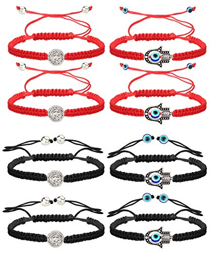 Finrezio 8 PCS Saint Benedict & Evil Eye Hamsa Hand Braided Cord Bracelets for Women Men Rosary Protection Bracelet Set Catholic Gifts Religious Jewelry Red/Black String