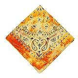 Andouy Bandana Kopftuch Halstuch Paisley Muster Einstecktücher Handgelenk Multifunktionstuch für Damen und Herren Verschiedene Farben(55X55CM.Gelb)