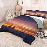 HELLOLEON - Ropa de cama de lujo, diseño náutico, color azul