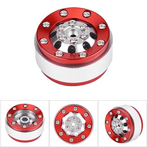 RC Auto Radnabe, 4 Stücke RC Auto Aluminiumlegierung Felge Naben für WPL 1/16 Fernbedienung Military Truck Zubehör( Silber + Rot)