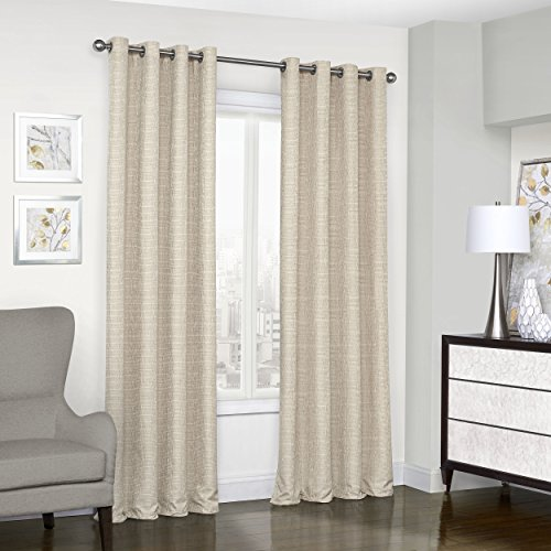 """ECLIPSE Blackout Curtains for Bedroom - Trevi 52"""" x 95"""" Thermal Insulated Single Panel Grommet Top Room Darkening Curtains for Living Room, Natural"""