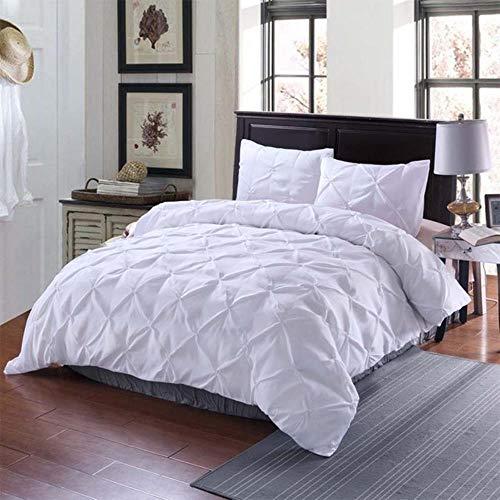 SXCYU Home Textiel Dekbedovertrek Eenvoudige effen kleur Katoenen voering Dekbedovertrek Kussenslopen Hoes 3 maten, wit, 175 x 218 cm (2 stuks)